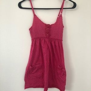 Pink polka dot sleeveless top